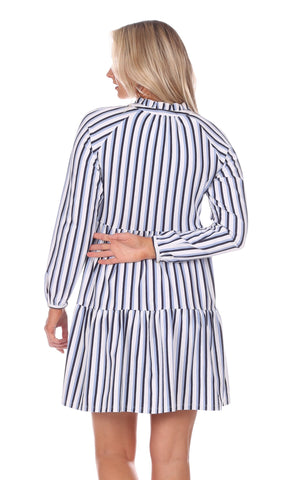 Fiona Dress in Navy, White & Hydrangea Stripe