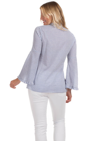 Onekama Top in Blue Seersucker