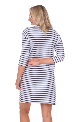 Erin Dress in Navy, White & Hydrangea Stripe