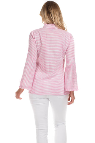 Onekama Top in Pink Seersucker