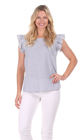 Harper Top In Navy Eyelet