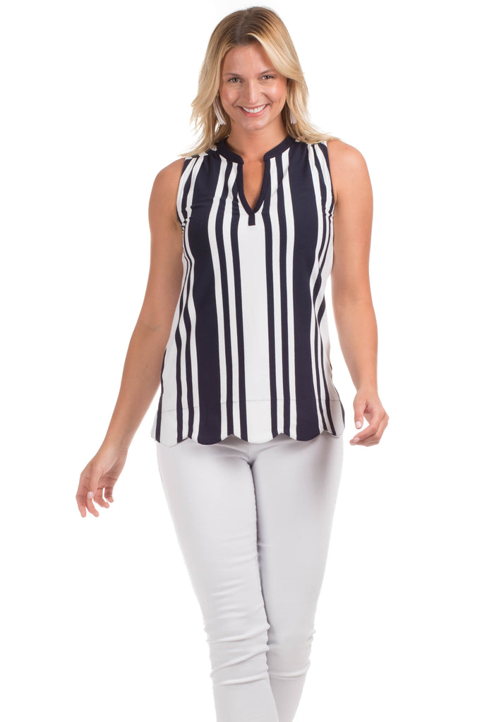 Walsh Top in Navy Stripes
