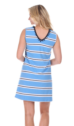 Poppy Pom Dress in Pool Stripe