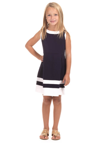 Girls Manistee Dress in Navy and Julep Stripes