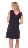 Poppy Pom Dress in Navy with Red