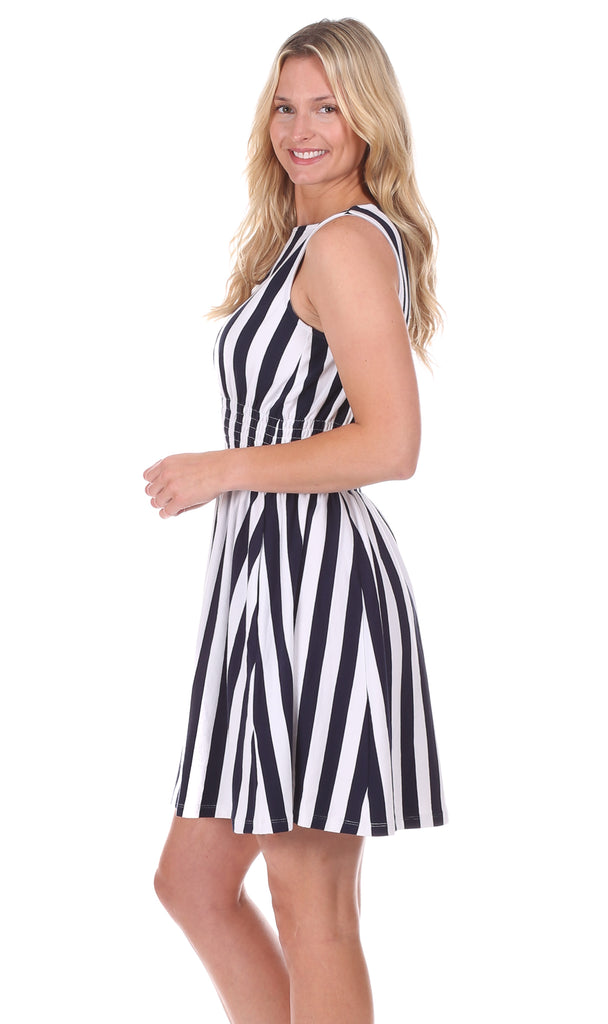 Midland Dress in Navy & White Stripe