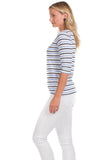 Shore Tee in Navy and Vista Stripes