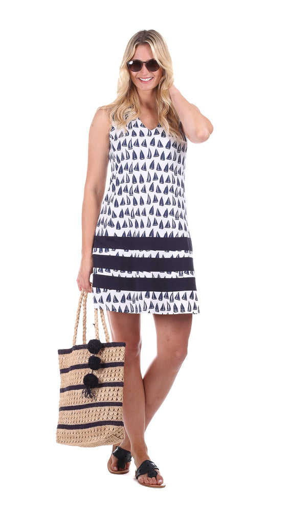 Waverly Dress in Sailboat with Navy