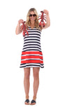 Waverly Dress in Navy & White Stripe with Red