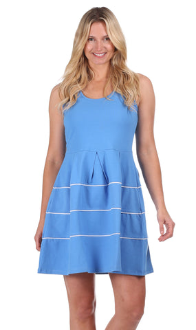Girls Julia Dress in Pool Stripe