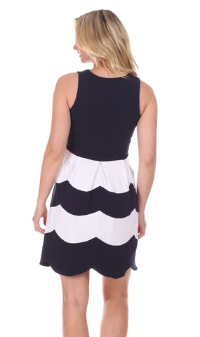 Scallop Ludington Dress in Navy & White