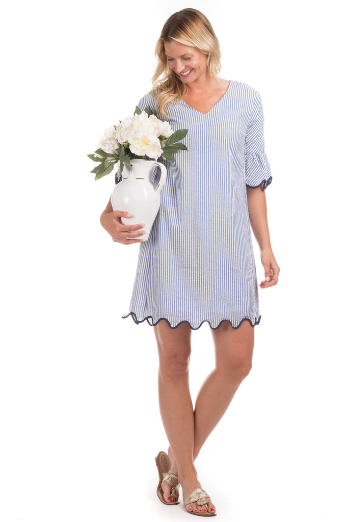Rosalie Dress in Blue with Navy Trim