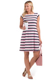 Hackley Dress in Pink and Navy Stipes