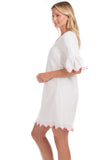 Rosalie Dress in White with Pink Trim