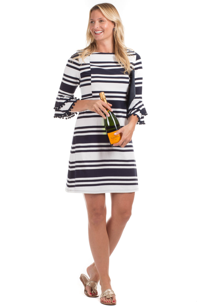 Rosewood Dress in Navy Stripes