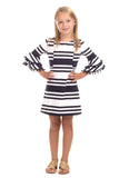Girls Rosewood In Navy Stripes
