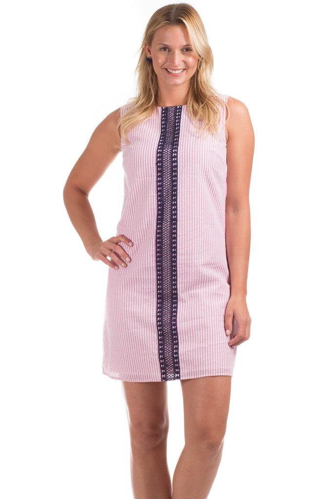 Sinclair Shift Dress in Pink with Navy Lace