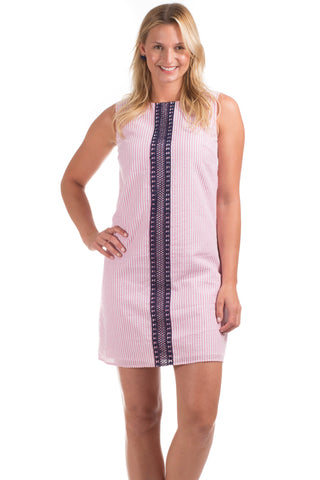 Grand Dress in Navy with Pink Trim