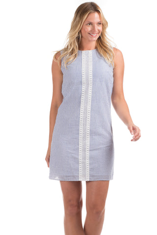Girls Mackinac Dress in White with Navy and Julep Stripes