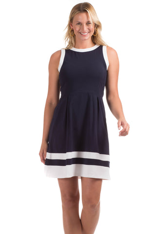 Cass Dress in Navy & White Stripe