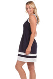 Caroll Dress In Navy with White