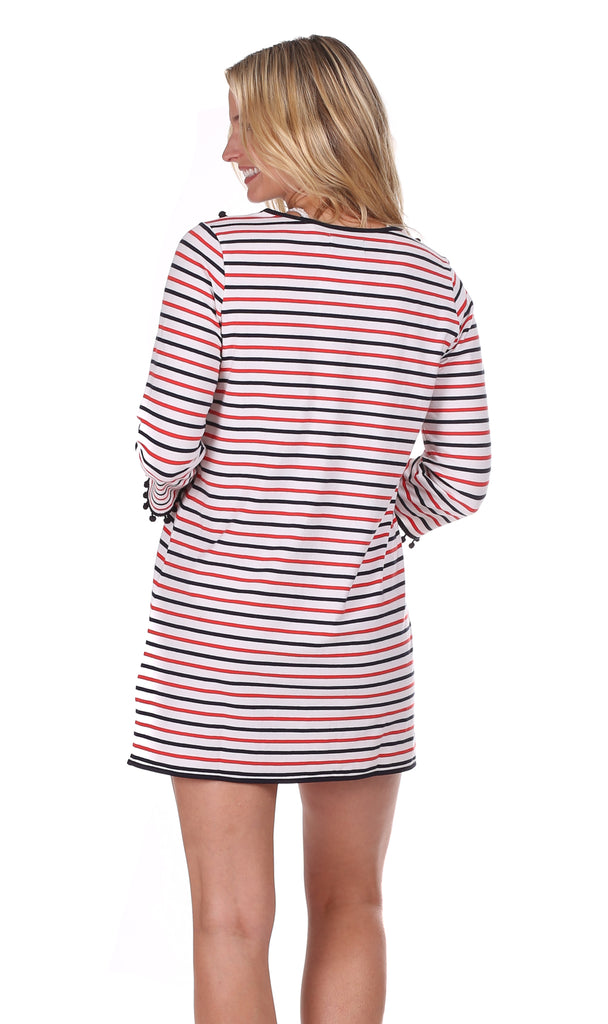 Colby Coverup in Red, White & Navy Stripe