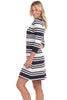 Dorset Dress in Navy Stripes