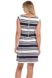 Hackley Dress in Navy Stripes