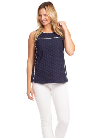 Sheets Top in Navy with Poppy