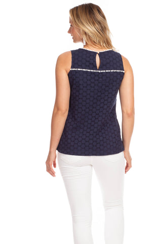 Beaufort Top in Navy Eyelet