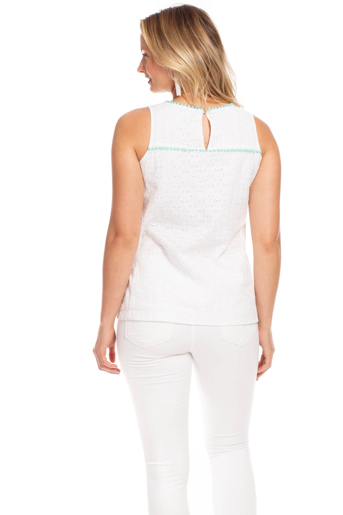 Beaufort Top in White Eyelet