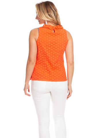 Rennie Top in Poppy Eyelet