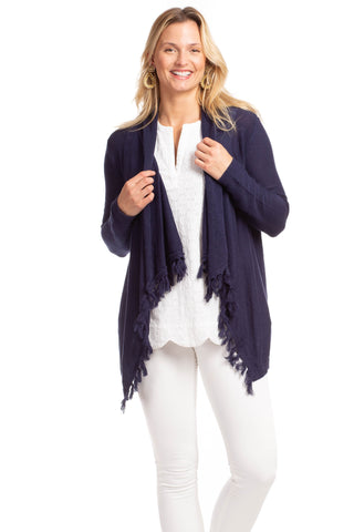 Eyelet Harper Top In Navy