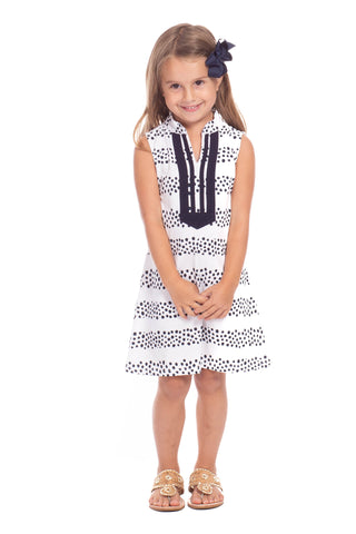 Mackinac Dress in Navy, White, and Julep Stripes