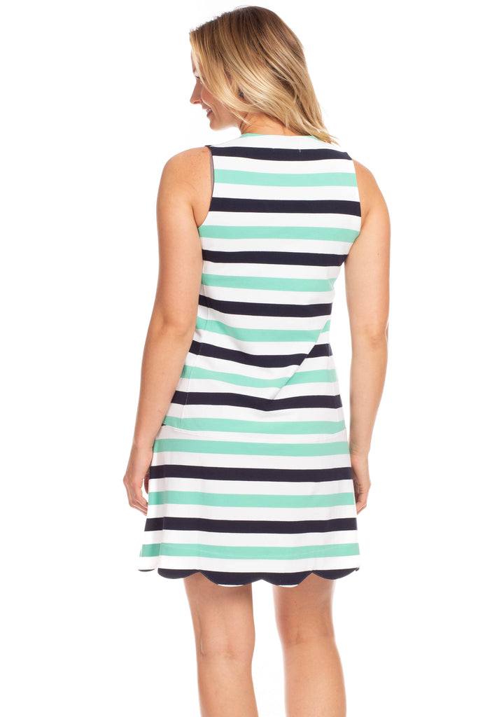 Wixom Dress in Navy and Julep Stripes