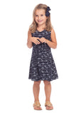 Girls Pratt Dress in Navy Rope Print