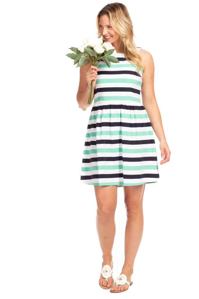 Manistee Dress in Navy and Julep Stripes