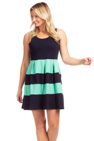 Cass Dress in Navy, Julep, and White Stripes