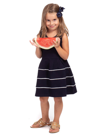 Girls Mackinac Dress in Navy Dot