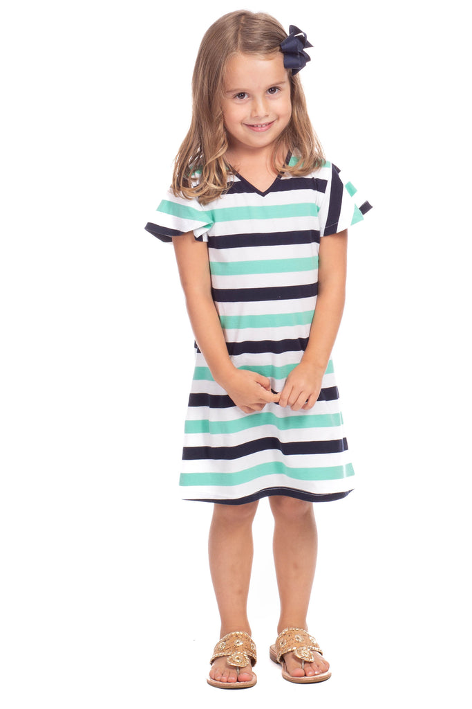 Girls Cass Dress in Navy and Julep Stripes