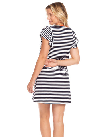 Cass Dress in Navy and White Stripes