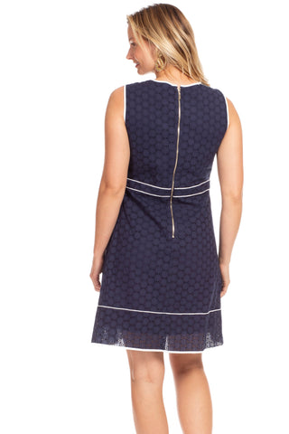 Holloway Dress in Navy Eyelet