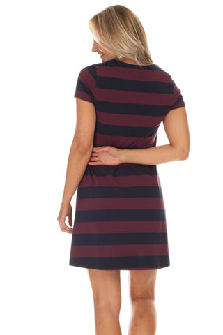 Amber Dress in Navy and Wine Stripe