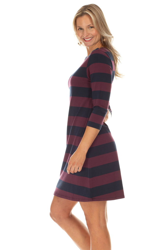 Abbey Dress in Navy and Wine Stripe