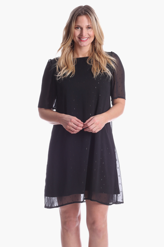 Phoebe Dress in Black Shimmer Dot