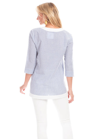 Sunfield Tunic in Blue with white