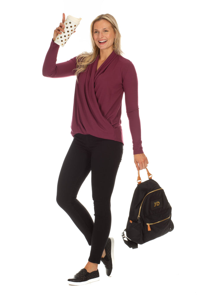 Isabella Wrap Top in Wine