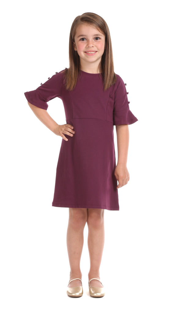 Girls Rebecca Dress in Wine