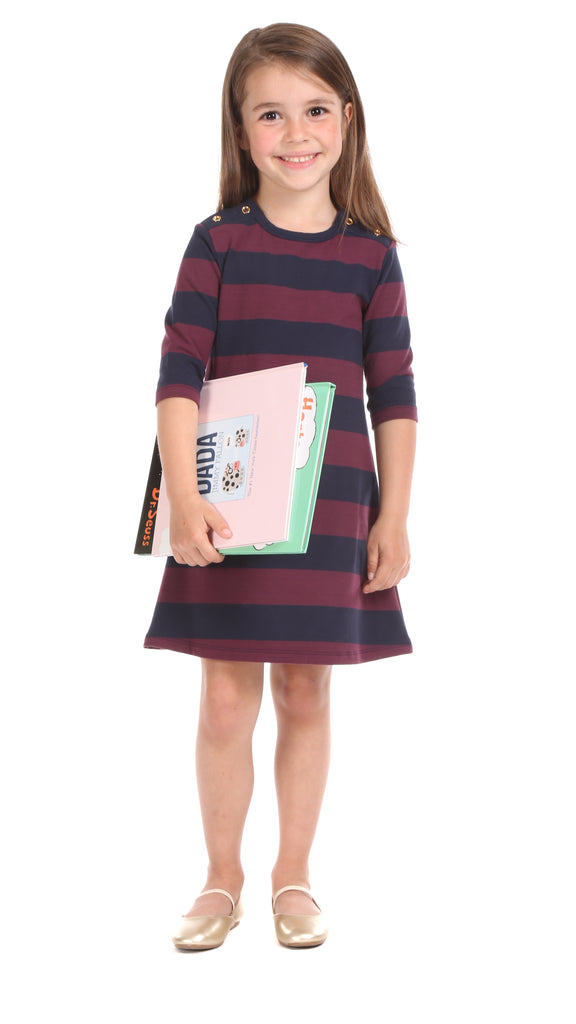 Girls Abbey Dress in Navy and Wine Stripe