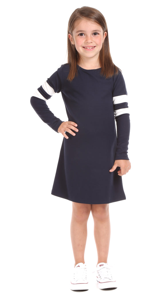 Girls Market Dress in Navy